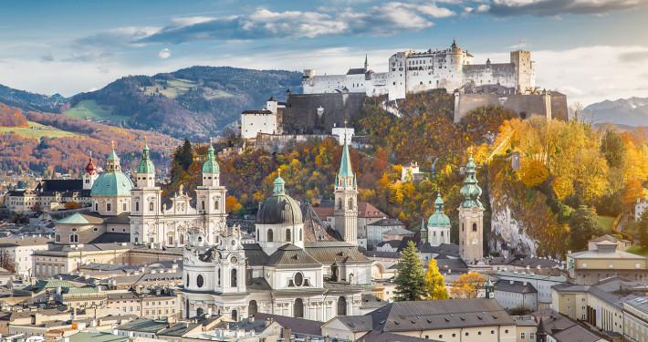 Panoramic View of Salzburg with Hohensalzburg Fortress • Salzburg, Austria